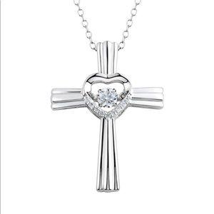 Floating Diamond Cross Heart Necklace